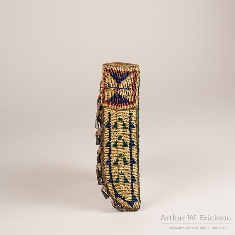 Beaded Knife Sheath with Tin Cone Fringe
