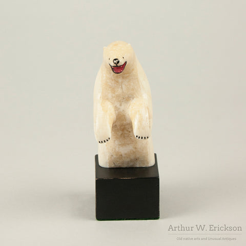 Standing Eskimo Carved Ivory Polar Bear