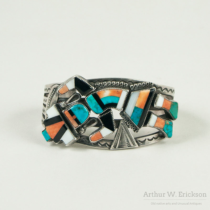 Striking Zuni Inlay Rainbow Dancer Cuff Bracelet