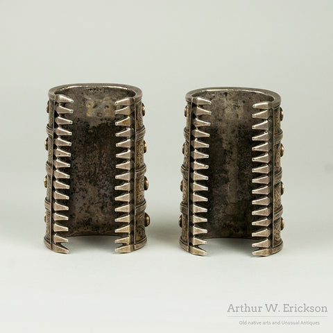 Pair of Central Asian Four Row Cuff Bracelets