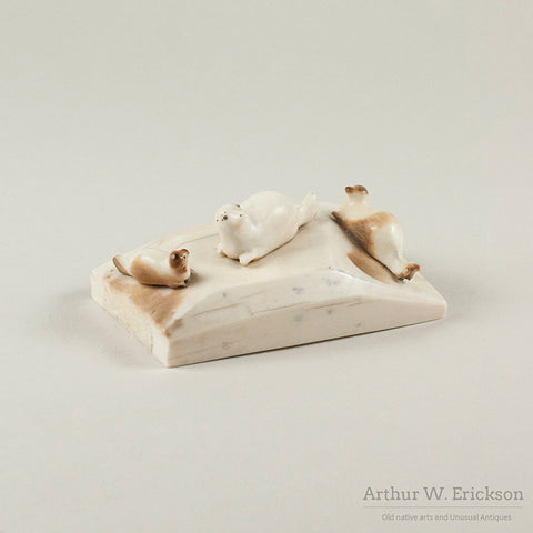Three Eskimo Carved Seals on Walrus Ivory Base