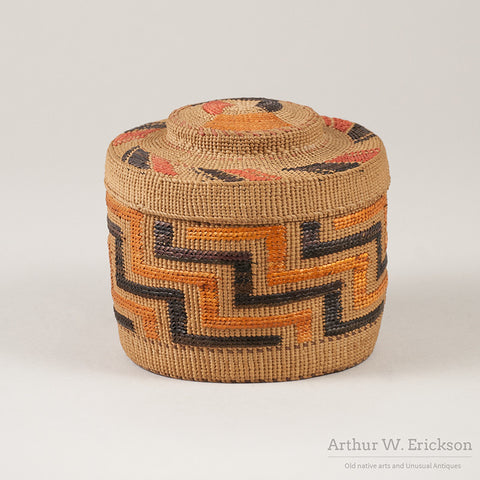 Tlingit lidded basket with Orange and Black Design