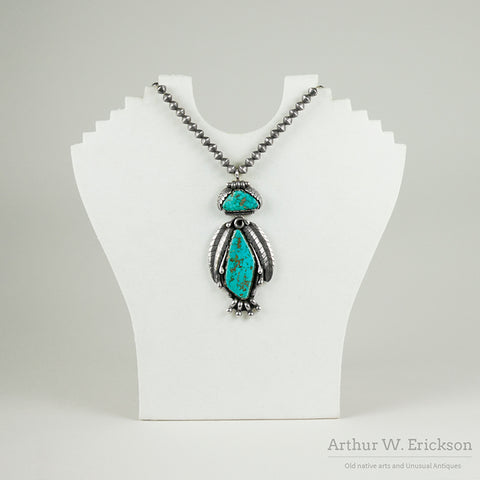 Turquoise and Sterling Silver Pendant by Carl Luthy