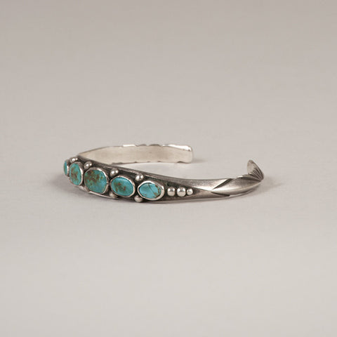 UITA Navajo Sterling Silver and Turquoise Bracelet - Arthur W. Erickson - 6
