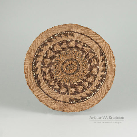 Unusual Klamath Miniature Gambling Tray with Dyed Quill