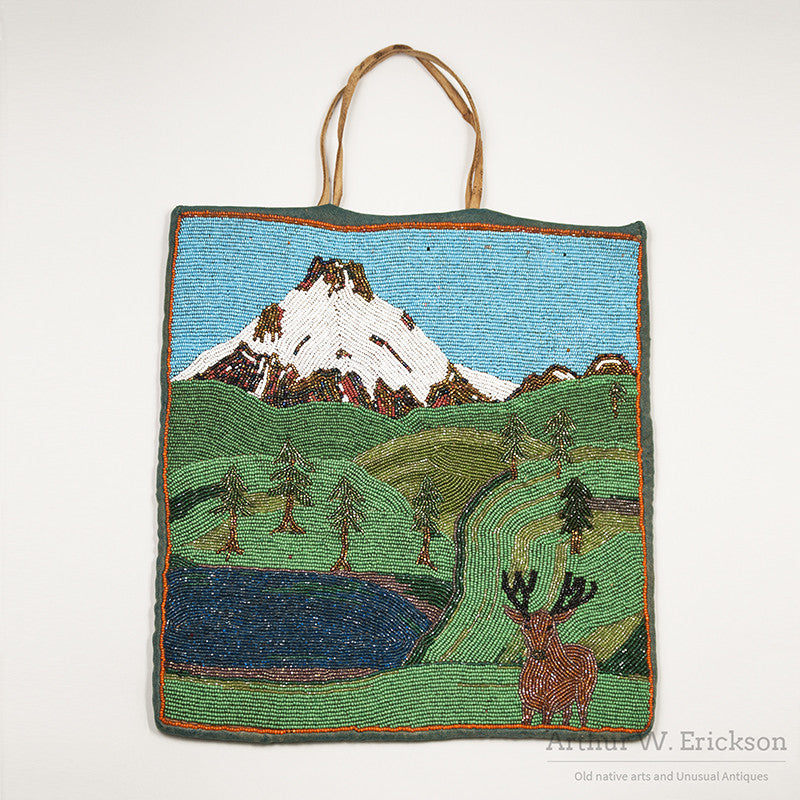 "Plateau Beaded ""Landscape"" Bag with Mountain Scene"
