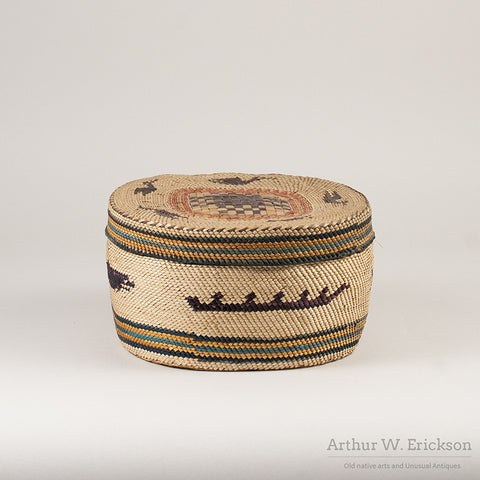 Large Makah Lidded basket with Birds - Arthur W. Erickson - 5