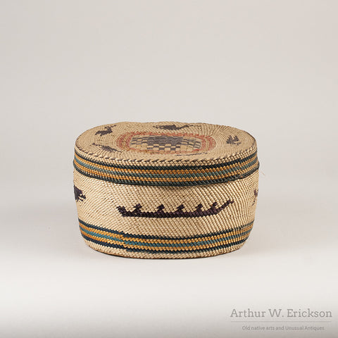 Large Makah Lidded basket with Birds - Arthur W. Erickson - 6