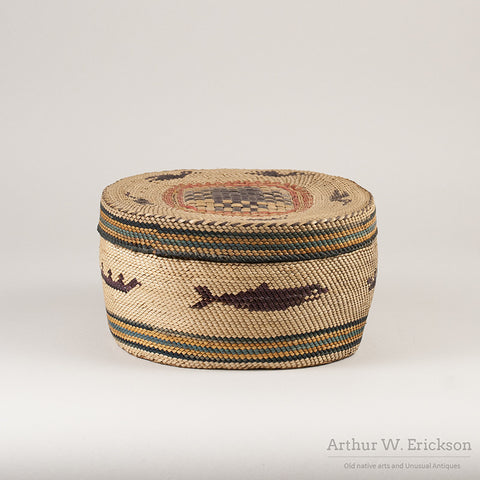 Large Makah Lidded basket with Birds - Arthur W. Erickson - 7