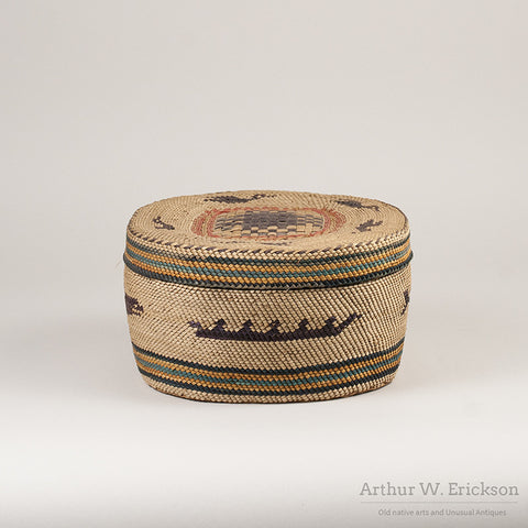 Large Makah Lidded basket with Birds - Arthur W. Erickson - 8