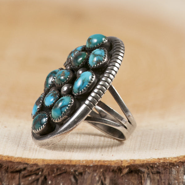 Lee Yazzie Turquoise Ring Grande on Northwest Coast Indian Art For Sale