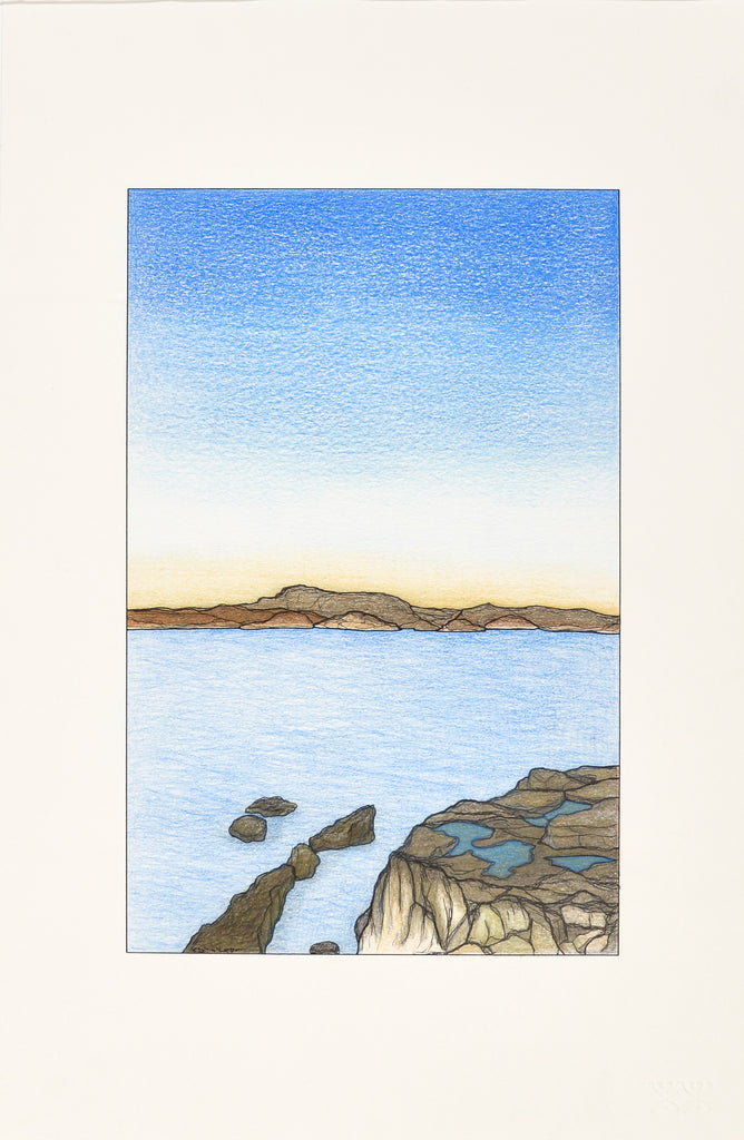 Untitled drawing, open water and cliffs