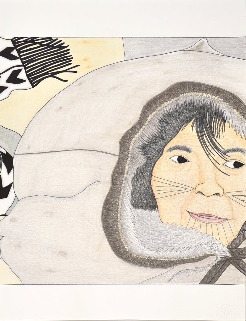 Untitled drawing, Inuit woman in the wind