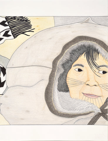 Untitled, Inuit woman in the wind