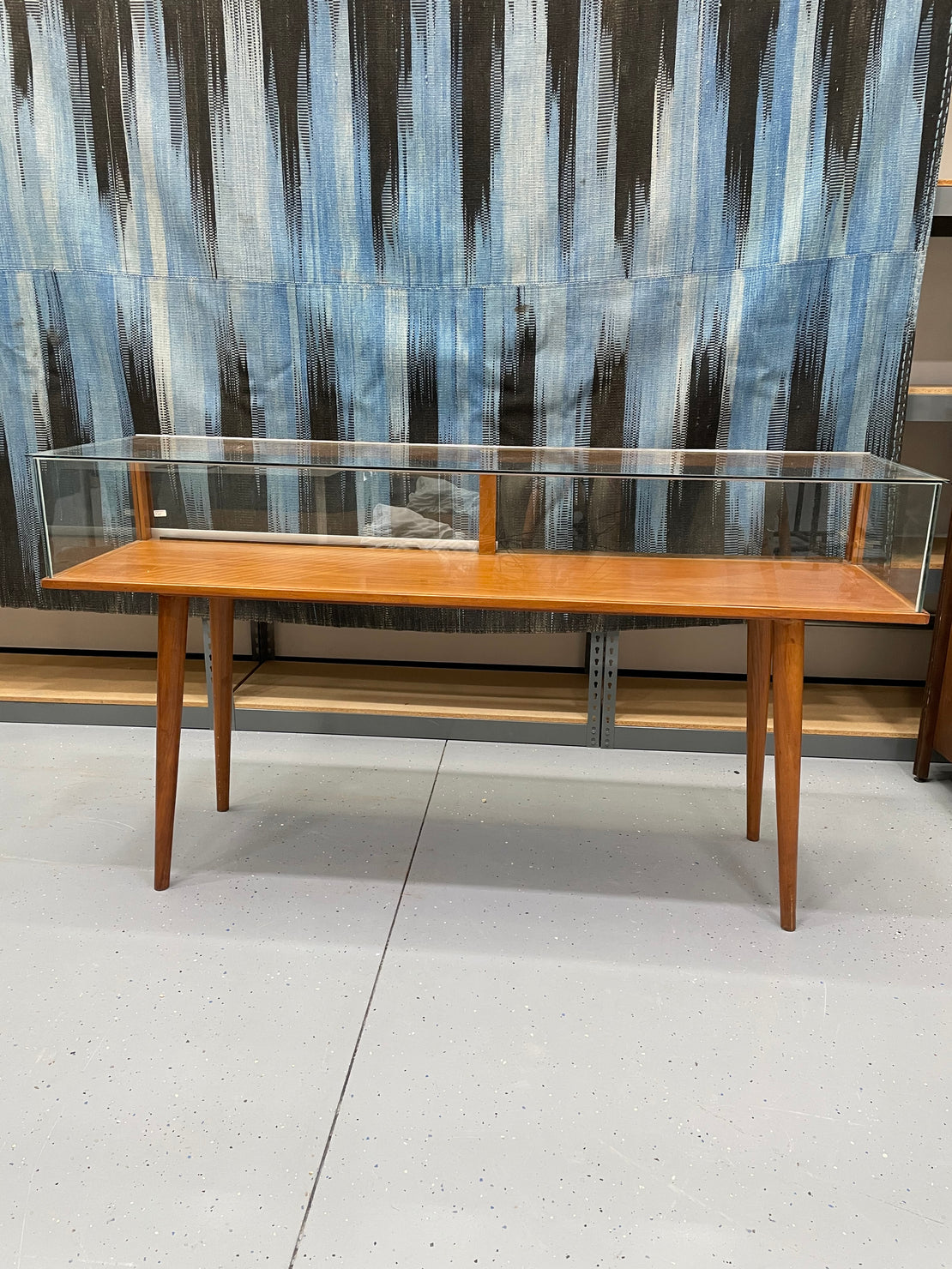 Warehouse Sale A1 - MCM Glass Case, Tapered Legs