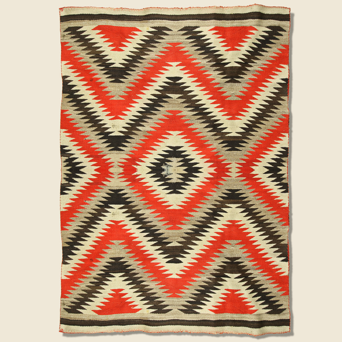 Vintage Hand-Woven Navajo Wool Rug - Red/Black/Grey/Cream