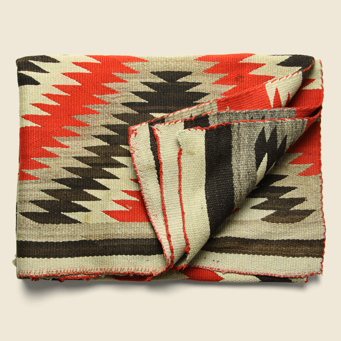 Hand-Woven Navajo Wool Rug - Red/Black/Grey/Cream