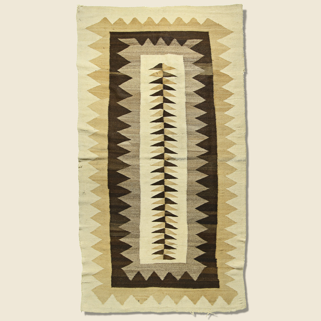 Vintage Zig-Zag Hand-Woven Navajo Wool Rug - Natural Brown