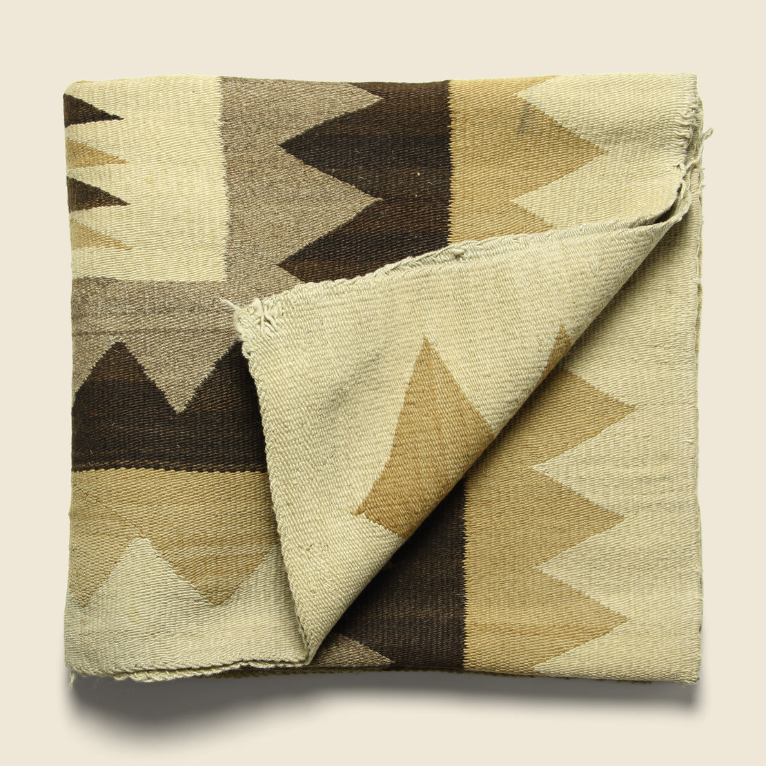 Zig-Zag Hand-Woven Navajo Wool Rug - Natural Brown