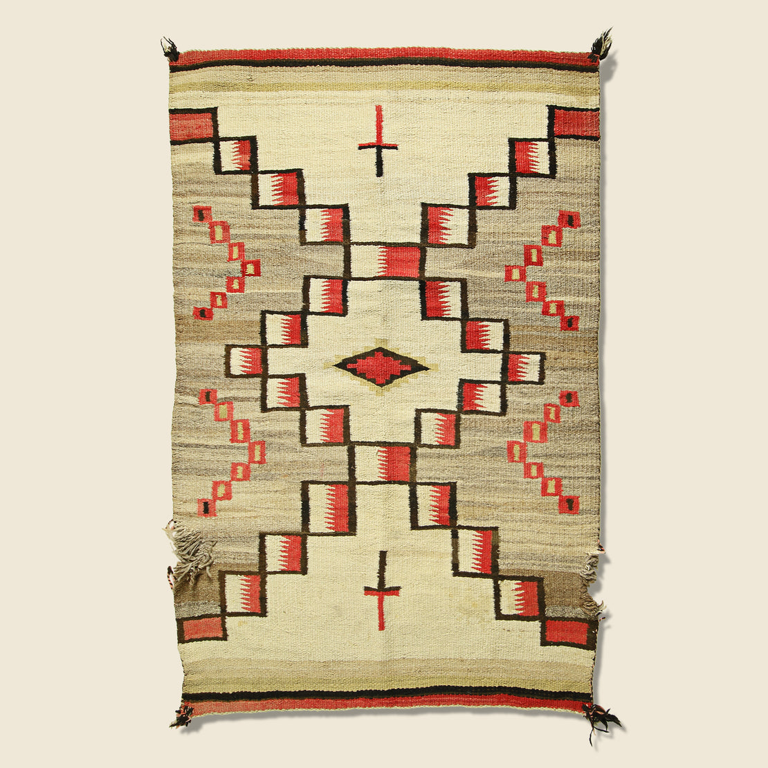 Vintage Hand-Woven Navajo Wool Rug - Red/Cream