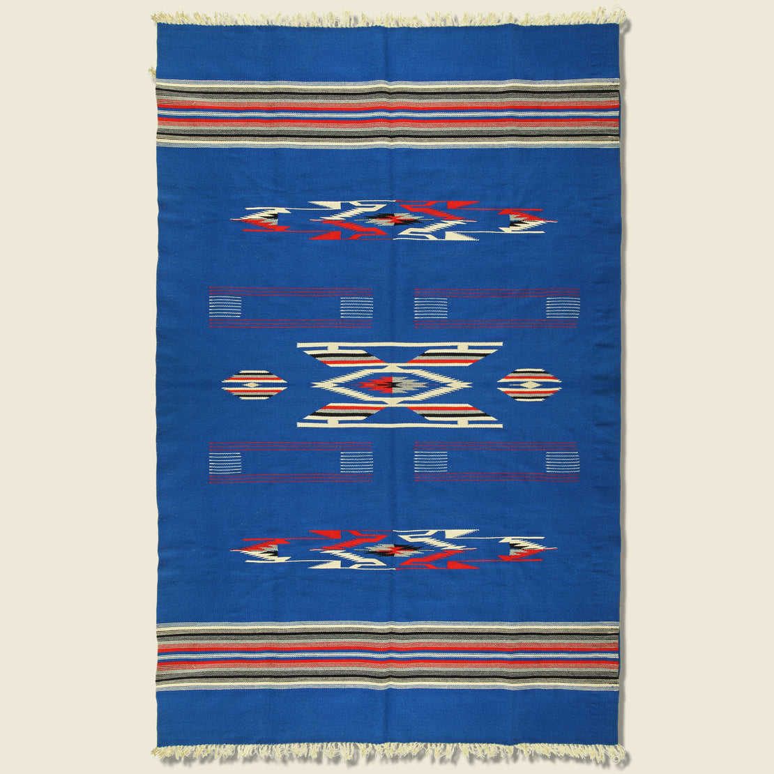 Vintage Chimayan Textile - Blue/Cream