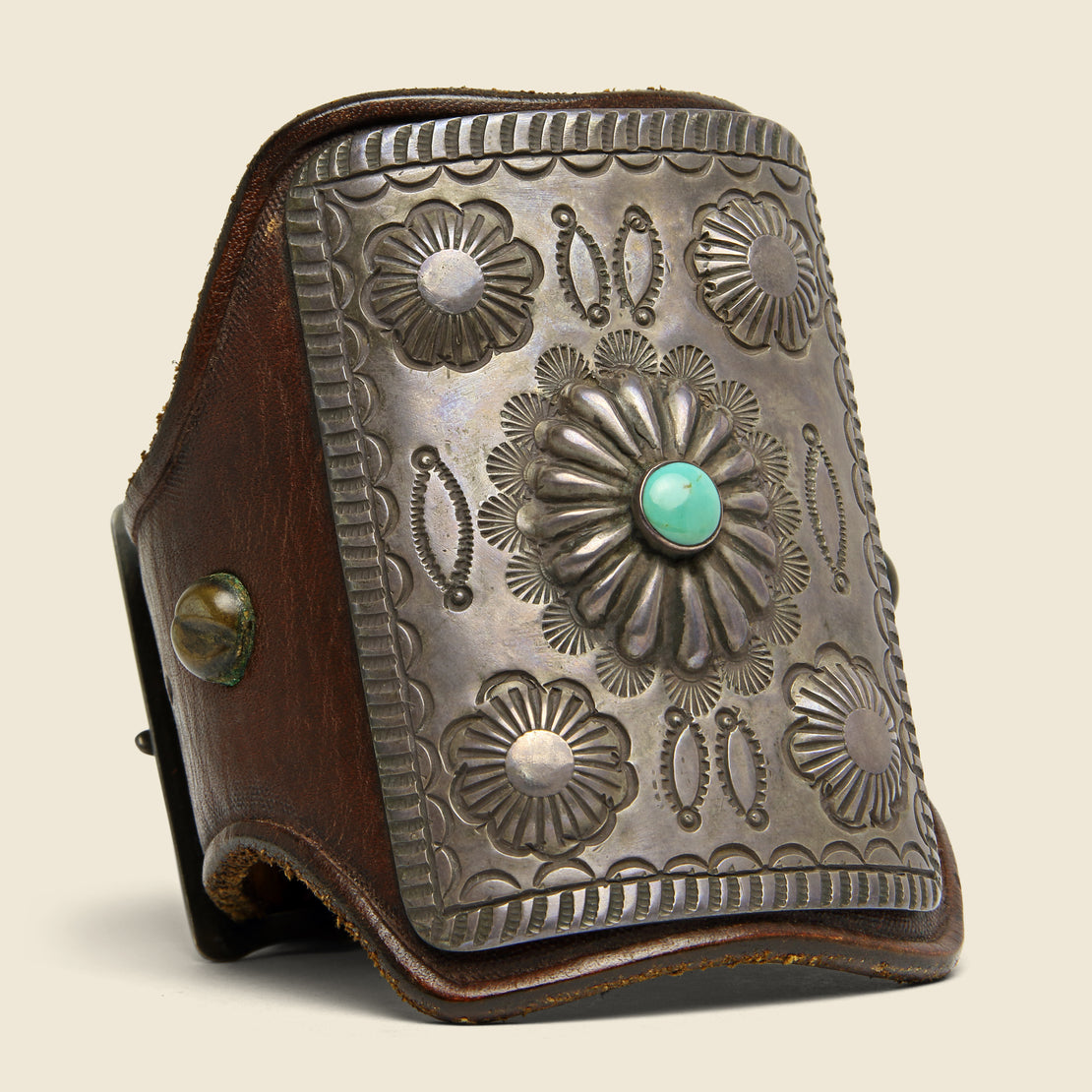Smith Bros. Trading Co. Stamped Concho Flower Leather Ketoh - Sterling/Turquoise/Leather