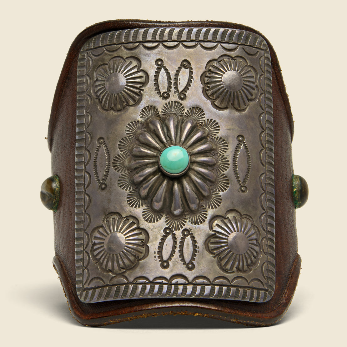 Stamped Concho Flower Leather Ketoh - Sterling/Turquoise/Leather