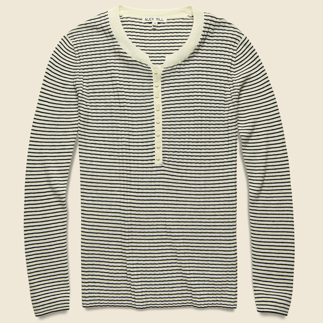 Wool & Silk Ribbed Henley   Ivory/Black by Alex Mill