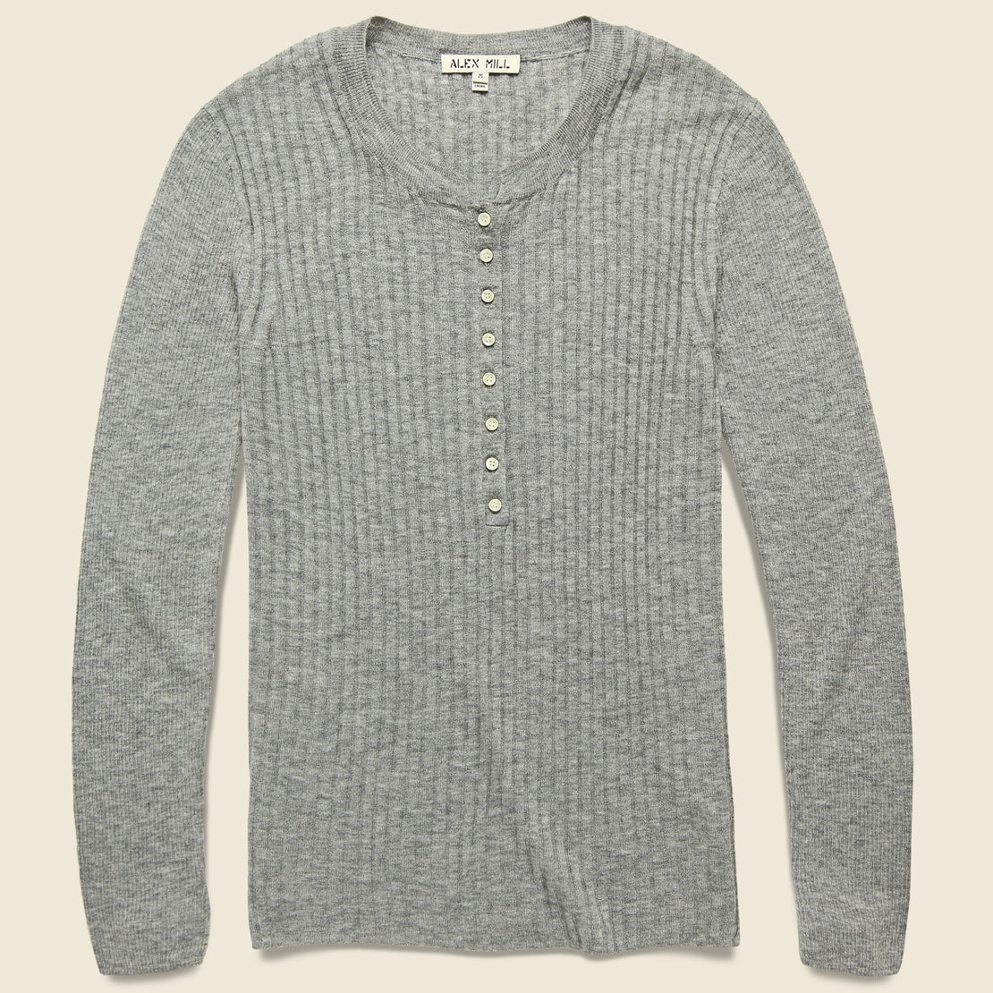 Alex Mill Wool & Silk Ribbed Henley - Heather Grey