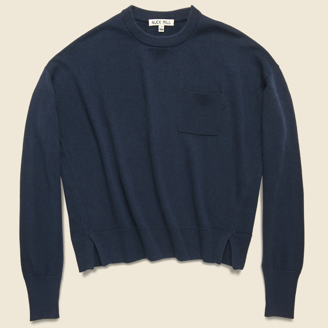 Alex Mill Cropped Pocket Sweater - Navy