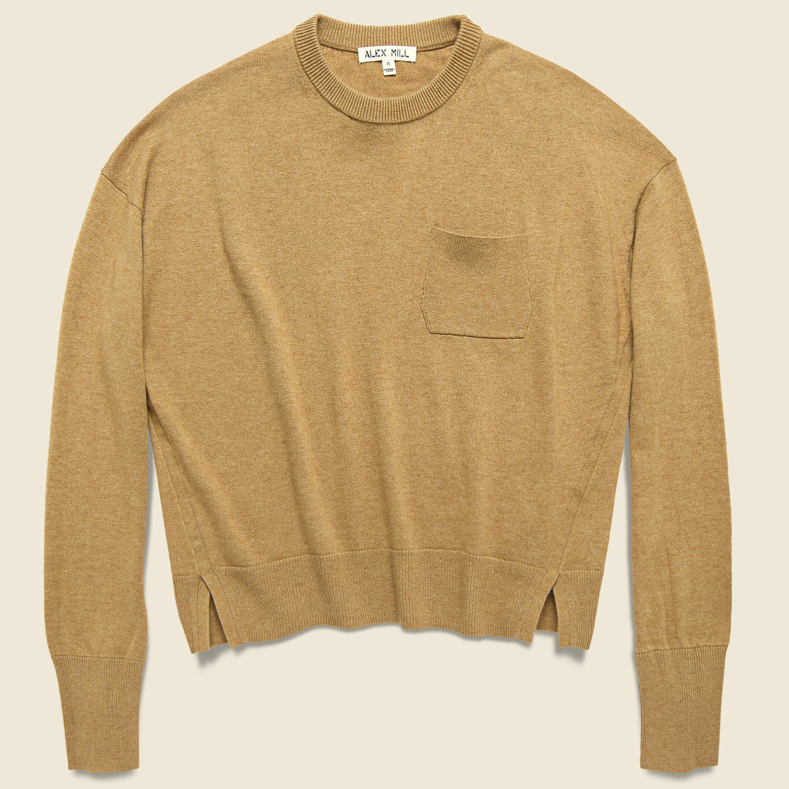 Cropped Pocket Sweater   Camel by Alex Mill