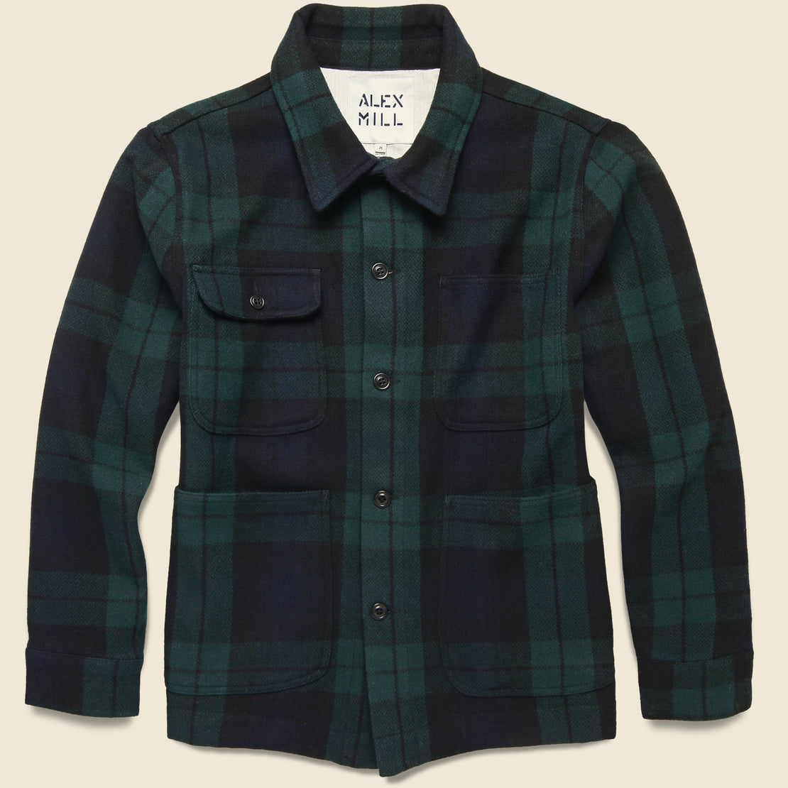 Alex Mill Blackwatch Wool Chore Jacket - Black/Green