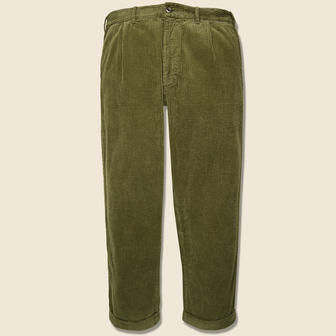 Alex Mill Rugged Corduroy Pleated Pant - Olive