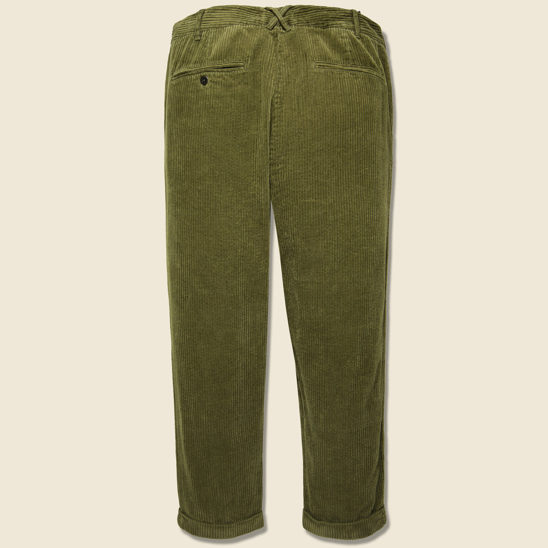Rugged Corduroy Pleated Pant - Olive