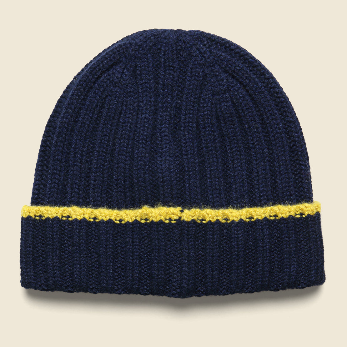 Alex Mill Cashmere Rib Tipping Beanie - Navy/Yellow