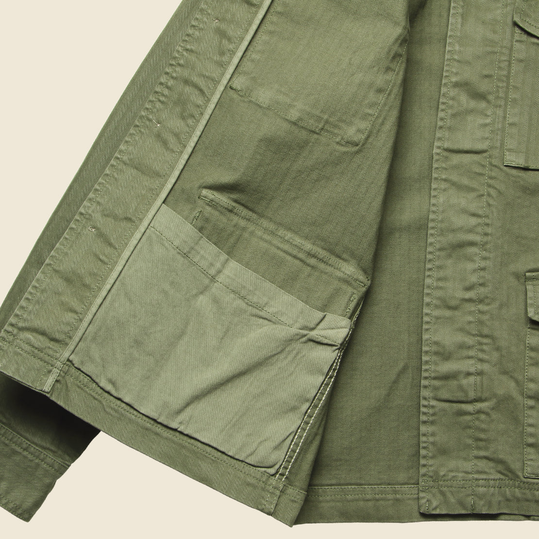 Herringbone Army Jacket - Olive