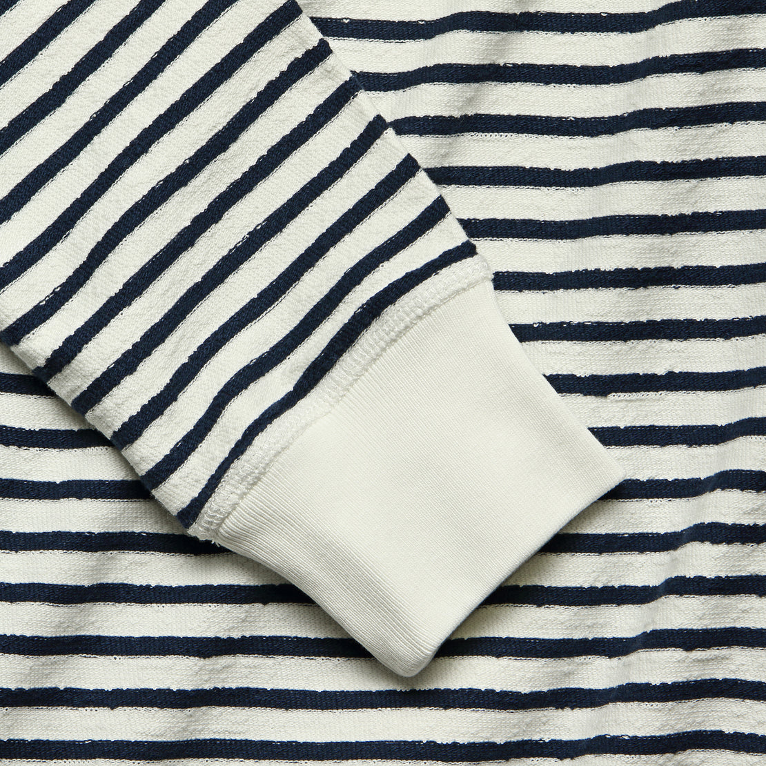 Stripe Texture Terry Crew Tee - White/Navy