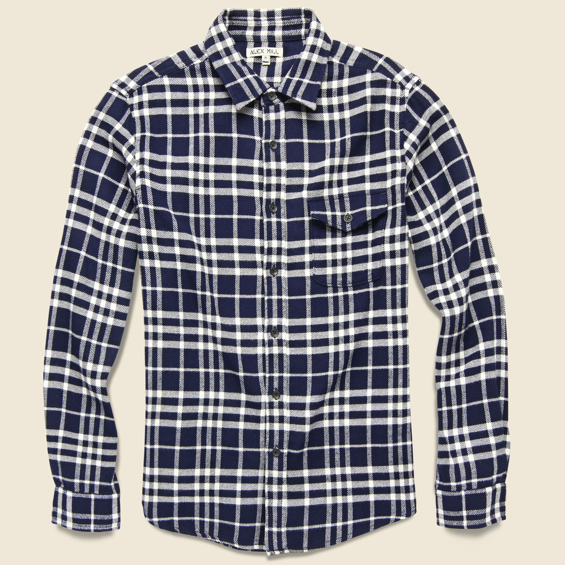 Alex Mill Plaid Patch & Flap Flannel - White/Navy