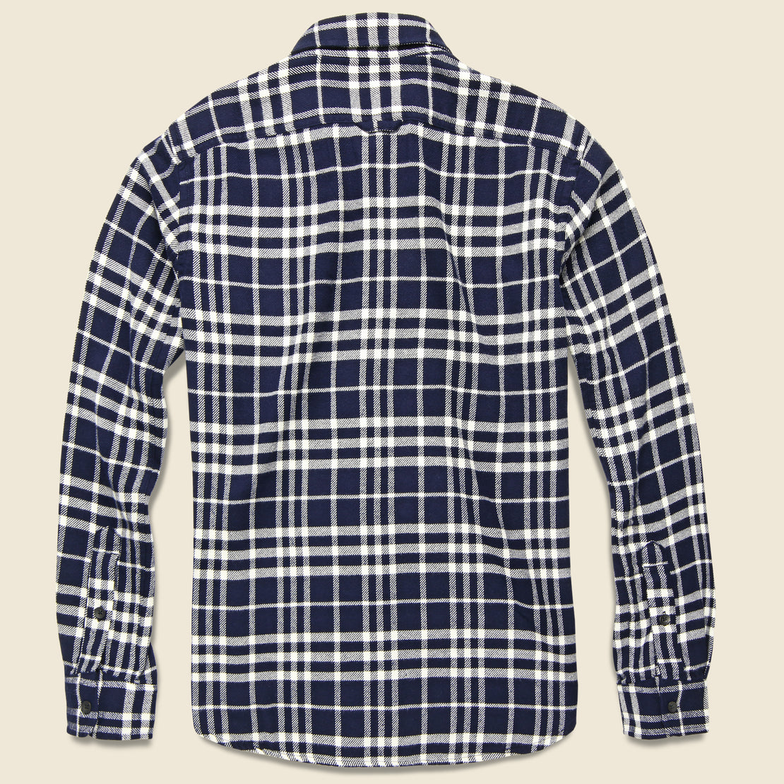 Plaid Patch & Flap Flannel - White/Navy
