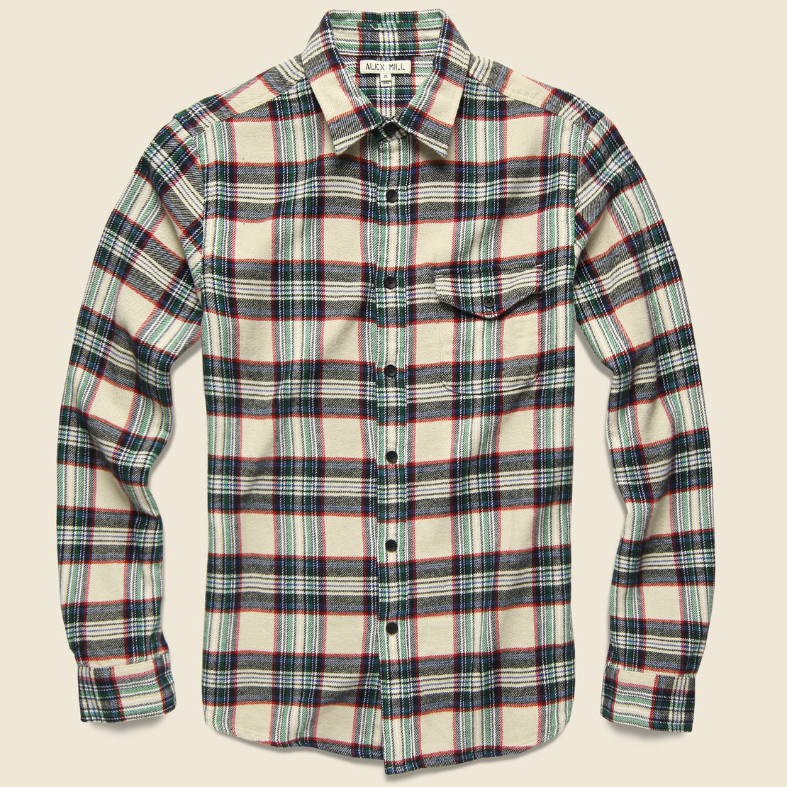Alex Mill Plaid Patch & Flap Flannel - Ivory/Navy