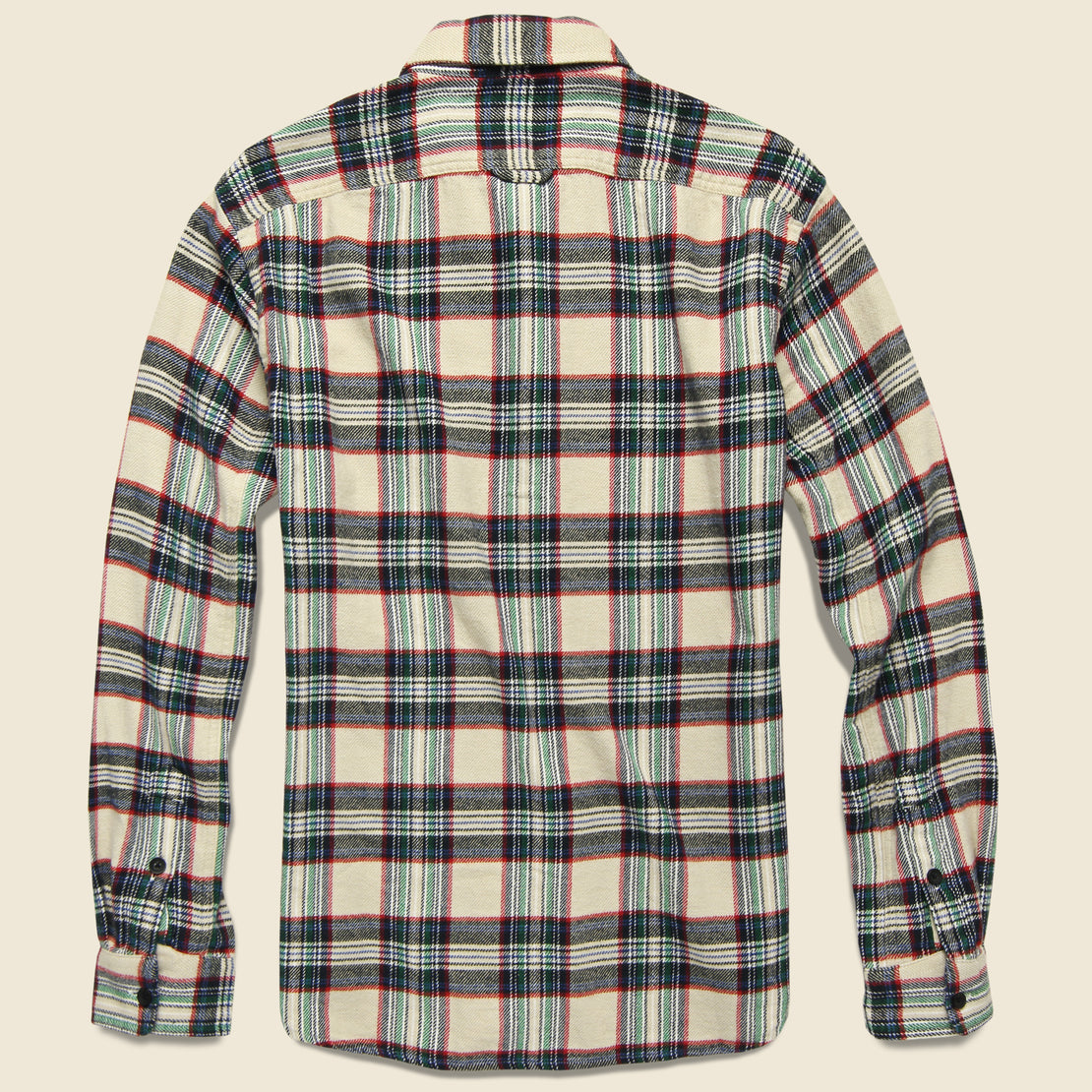 Plaid Patch & Flap Flannel - Ivory/Navy