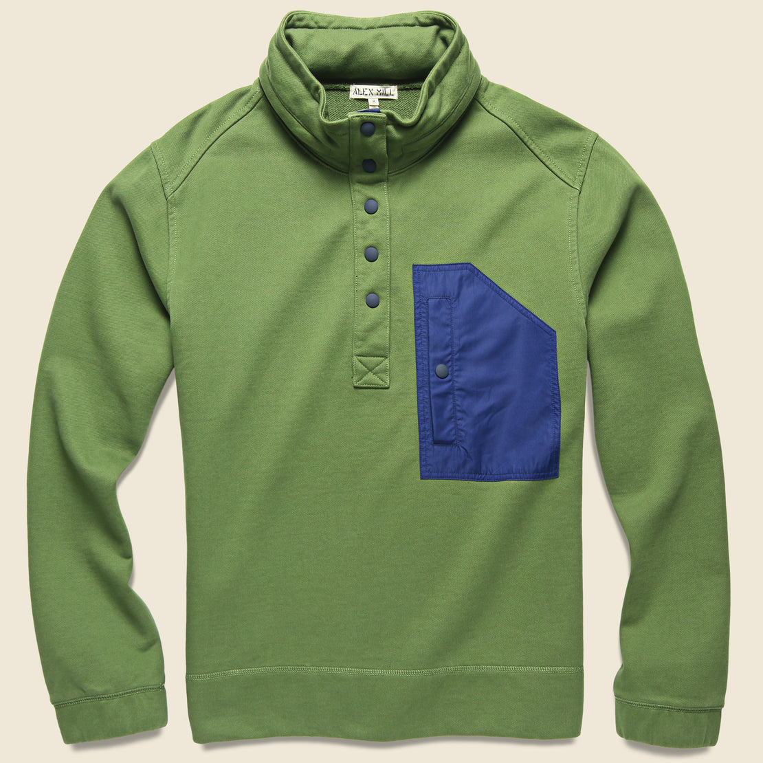 Alex Mill Compact Terry Popover Sweatshirt - Army Olive