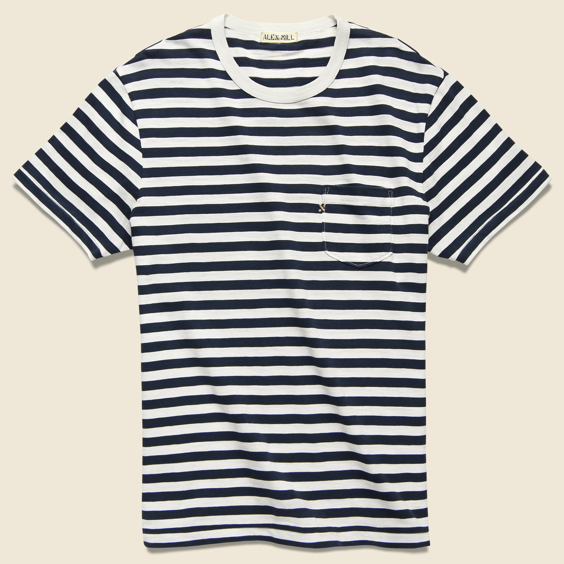 Alex Mill Even Stripe Tee - White/Navy