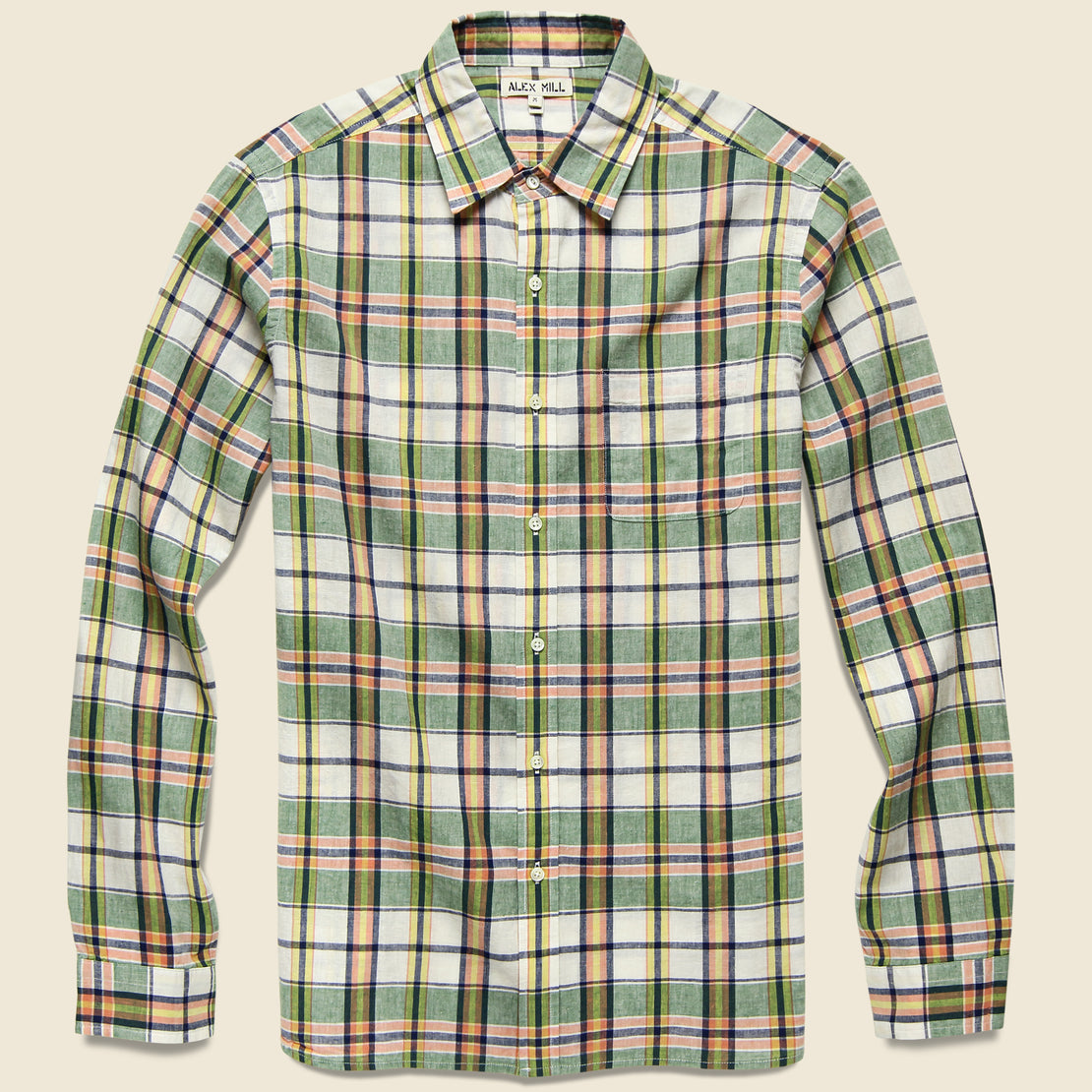 Alex Mill Spring Shirt - Green/Off-White