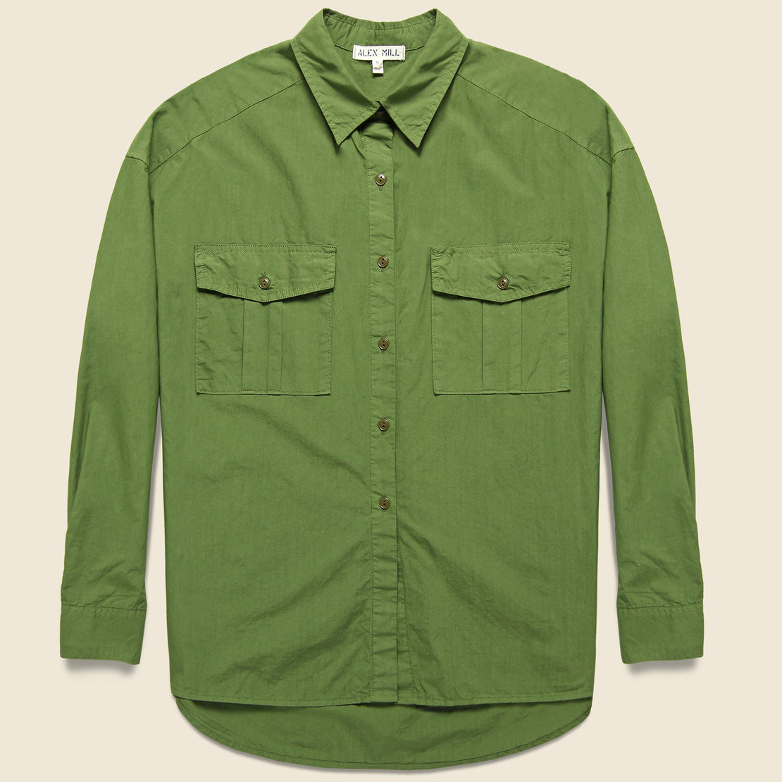Alex Mill Oversized Garment Dyed Shirt - Army Green