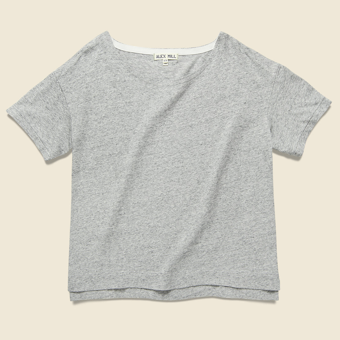 Alex Mill Slub Boxy Boatneck Tee - Heather Grey