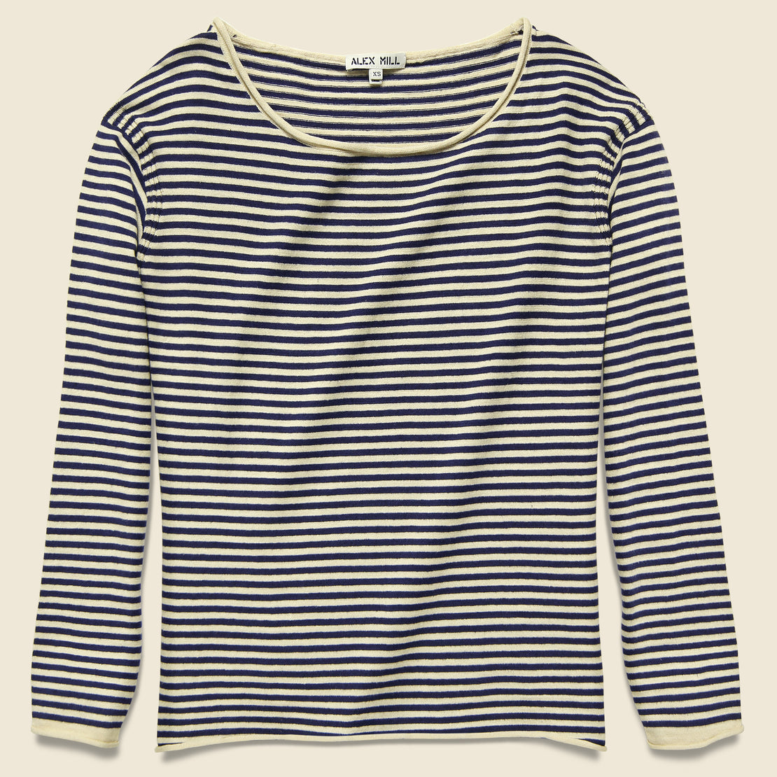 Alex Mill Roll Neck Sweater - Navy/Natural Stripe