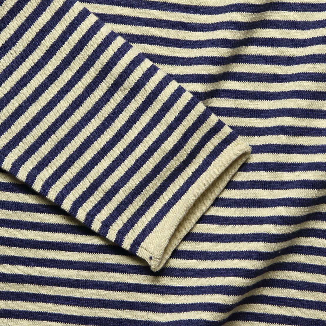 Roll Neck Sweater - Navy/Natural Stripe