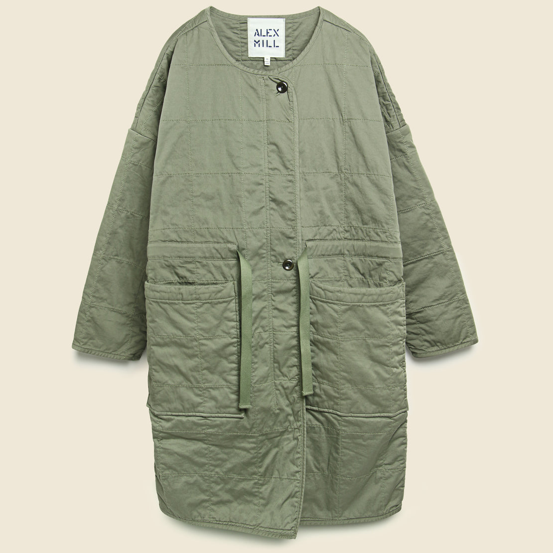 Alex Mill Christopher Quilted Coat - Military Green