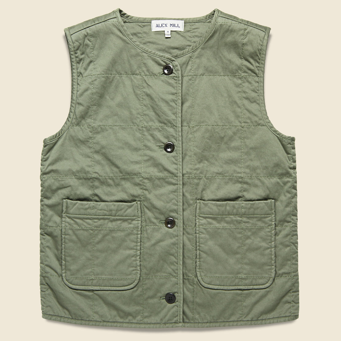 Alex Mill Christopher Quilted Vest - Military Green